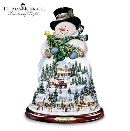 Thomas Kinkade Musical Snowman Snowglobe With Lights