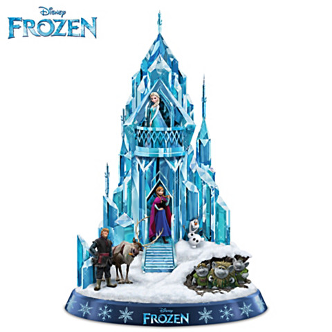 "Disney FROZEN Ice Palace of Elsa Sculpture Plays ""Let It Go"""
