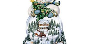 Thomas Kinkade Musical Snowman Snow Globe With Lights