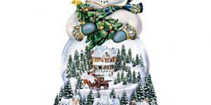 Thomas Kinkade Musical Snowman Snow Globe With Lights